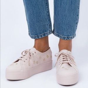 (Only worn once) White Superga's